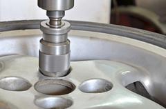 Metal workshop, drill milling machine closeup. - stock image. reparing car, v Stock Photos