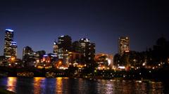 Melbourne night skyline Stock Footage