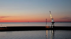 A great view of the calm and peaceful sea with cranes Stock Footage