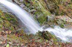 Deep forest waterfall macedonia closeup Stock Photos