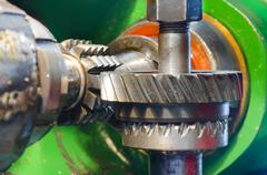 Industrial machine for wormwheel gear and cogwheel production and service, ro Stock Photos