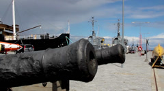 Cannons on the navy port Stock Footage