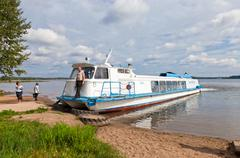 valday, russia - august 19: cruise passenger catamaran at the moored on valda - stock photo