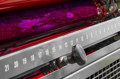Printing machine red color roller Stock Photos