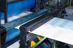 printing machine, hith speed roto offset print press, newspaper and magazine  - stock photo