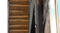 Sturdy wooden cabin walls Stock Footage