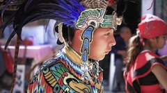 Teenager with aztec costume Stock Footage