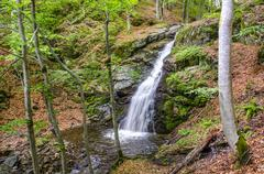 Waterfall in macdonia national park. in the deep forest on ecological clean e Stock Photos