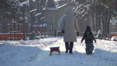 Grandmother and Child Pull Empty Sledge, Sleigh on Snow in Park, Winter Stock Footage