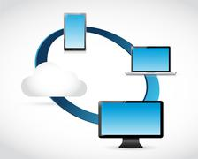 cloud computing cycle concept - stock illustration