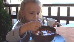 Child Eating Bread and Soup, Borsch at Restaurant, Bar, Tavern, Hungry Girl, Kid Stock Footage
