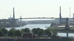 Panoramic View of Hamburg with Koehlbrand bridge #1 Stock Footage
