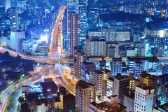 Kaupunki kohtaus Tokiossa Kuvituskuvat