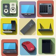 Home computer equipment set icons Stock Illustration