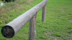 Horizontal horse pole in an open space Stock Footage