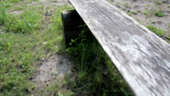 Old wooden park bench Stock Footage