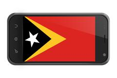 Stock Illustration of east timor flag on smartphone screen isolated