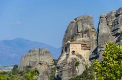 meteora, the famous hanging monastery of meteora, greece. it belongs to the u - stock photo