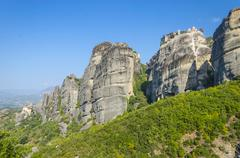 meteora mountain rocks,greece. it belongs to the unesco world heritage site - stock photo