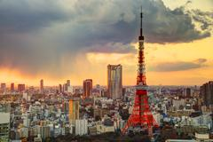 Tokyo tower and skyline Stock Photos