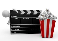 Mies etsii läpi elokuvan läppä ja popcorn Piirros