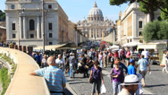 Stock Video Footage of Throngs of tourists, St Peters in background