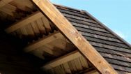 House with wooden fascia and joist Stock Footage
