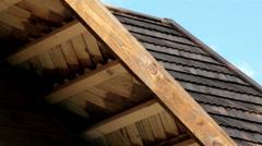 house with cedar wooden shingle shake roof fascia - stock footage
