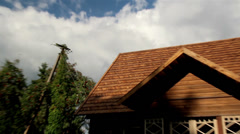 Close-up image of the brown tiled roof Stock Footage