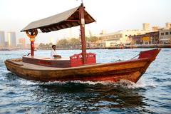 Dubai, uae - september 10: the traditional abra boat in dubai creek on septem Stock Photos