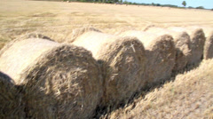 Open field; filled with stacks of hay Stock Footage