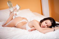 Slim sexy lingerie woman. Stock Photos