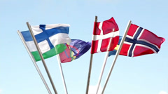 Different european finland sweden norway sami flags swaying in the air Stock Footage