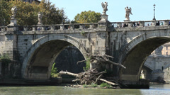 Swept up large trees next to Tiber bridge in Rome Stock Footage