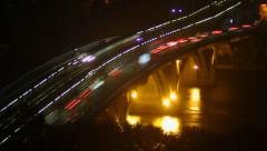 Night river bridge, cars leave traces yellow red light timelapse, click for HD Stock Footage