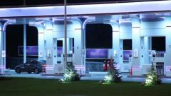 Gasoline station time lapse, fueling cars, petrol selling point, click for HD Stock Footage
