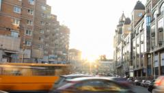 Timelapse cars move in city traffic jam, dusk sunlight shine, click for HD Stock Footage