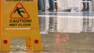 Stock Video Footage of Caution wet floor