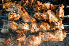 Fried meat on smoke (shish kebab) Stock Photos