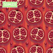 Red pomegranate. Seamless pattern Stock Illustration