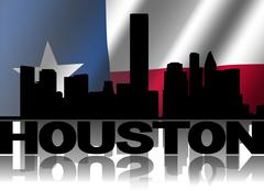 houston skyline and text reflected with rippled texan flag illustration - stock illustration