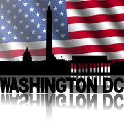 Washington dc skyline and text reflected with rippled american flag illustrat Stock Illustration