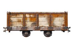 vintage rusty car for the narrow-gauge railway - stock photo