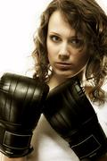Fit woman boxing - isolated over  white Stock Photos