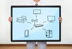 Tietokoneen verkko Kuvituskuvat