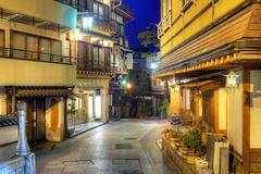 hot springs resort town shibu onsen - stock photo