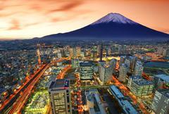 Yokohama and fuji Stock Photos