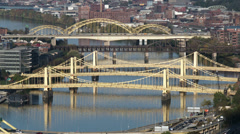 4K Pittsburgh Three Sisters Bridges 3739 Stock Footage