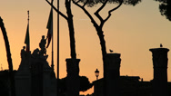 Stock Video Footage of Sunset Roma, silhouette columns & statues 4