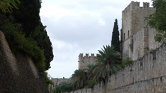 Walls of the Rhodes old town. Stock Footage